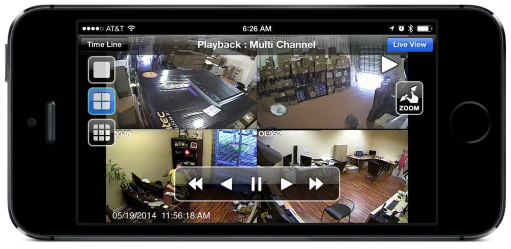 4 security camera view of recorded surveillance video playback from iPhone app
