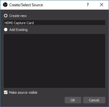 open broadcaster software add new video source