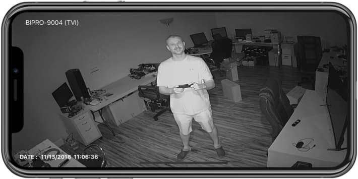 HD Security Camera Infrared Night Vision View from iPhone App