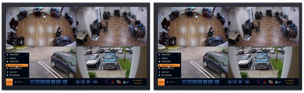 CCTV Surveillance DVR Dual Monitor Display