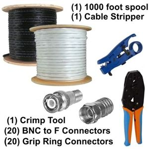 BNC F Crimp On Connectors RG59 Cable Kit