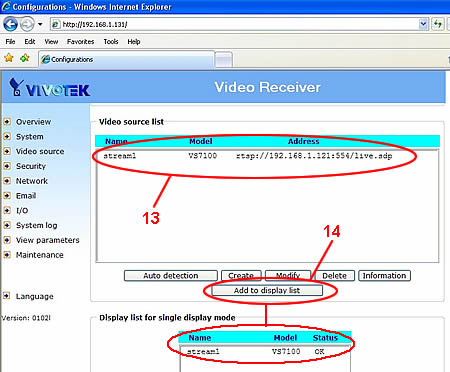 Video Decoder Setup - Video Dislplay List