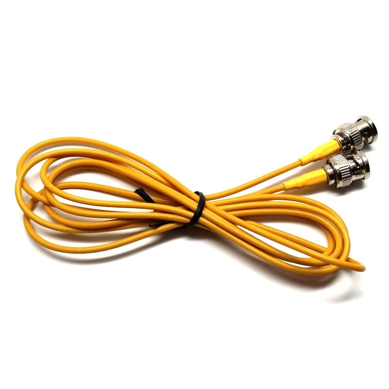 3 Foot Coax Patch Cable, Yellow RG-179 BNC Jumper, BNC Male, 75 Ohm