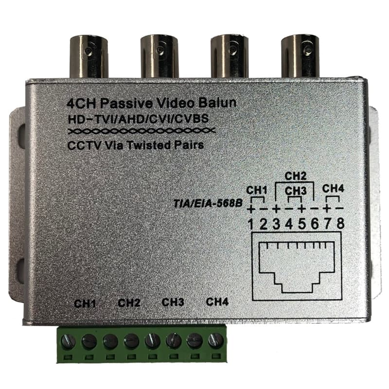 4ch Passive Video Balun, BNC Coax to CAT5 Ethernet RJ45, CCTV AHD TVI