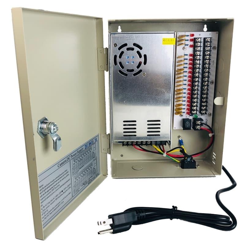 CCTV Power Distribution Box, 18ch 12V DC   Adapter Power Supply Fuse Box      CCTV Camera Pros