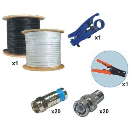 rg59 coax cable installation kit 1000 ft rh cctvcamerapros com cctv cable installation cctv wiring diagram