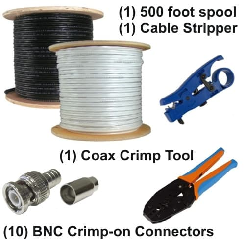 RG59 CCTV Cable Kit | BNC Crimp-On Connectors | Coax Stripprt Tool ...