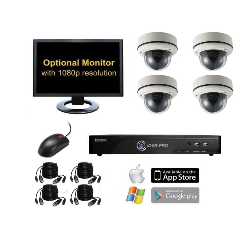 960H Surveillance System with 4 Channel DVR, 4 Vandal Dome IR Cameras