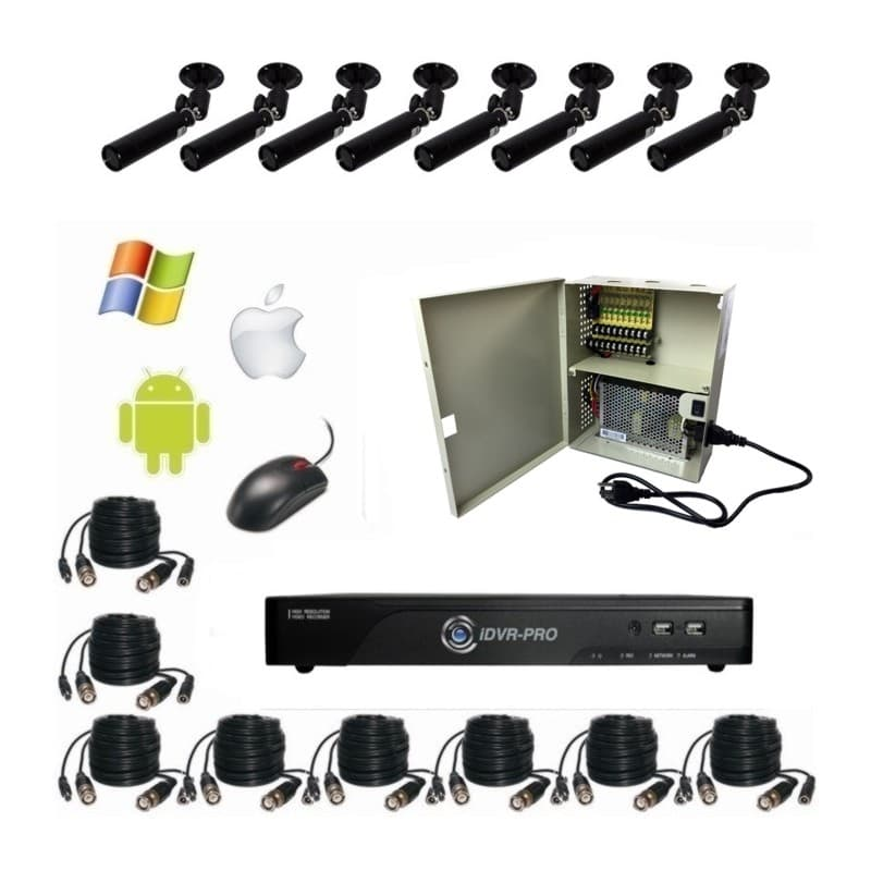 CCTV Camera System, 8 Bullet Security Cameras, iPhone, Mac DVR Viewer