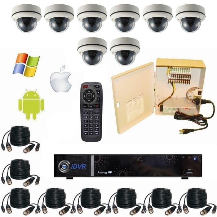 Dvr Surveillance System With 8 Vandal Proof Dome Cctv Cameras