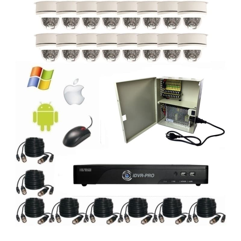 HD Home Surveillance System, 16 Outdoor Dome Infrared Cameras, DVR