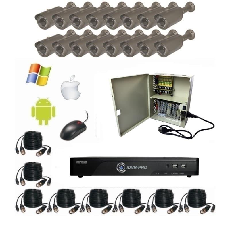 HD Outdoor Security Camera System, 16 Weatherproof IR Cameras, DVR