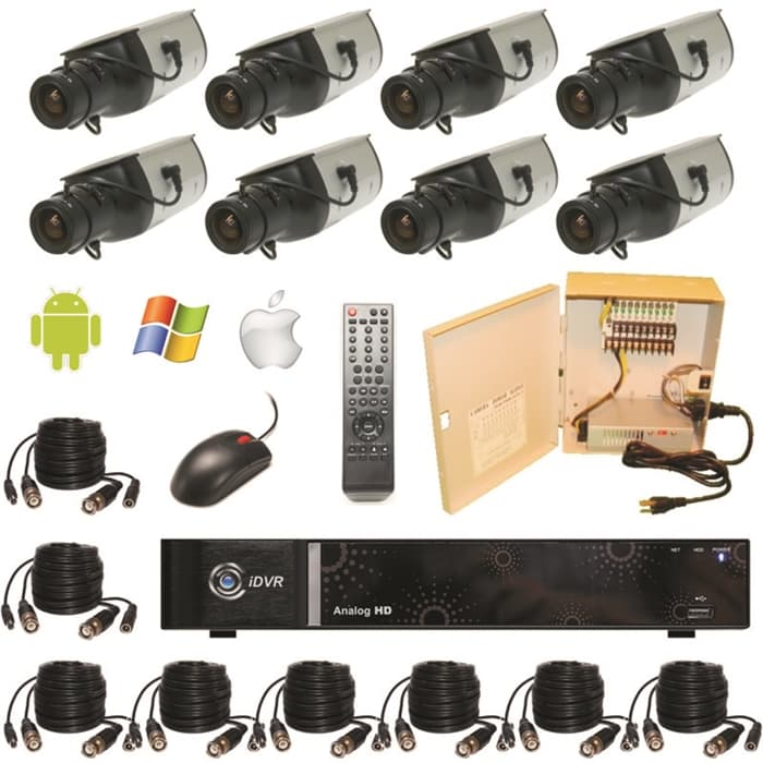Hd Surveillance Dvr System 8 Ahd Security Cameras Hybrid